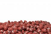 3d Rendering Of A Heap Made Of Countless American Football Balls Lying On Each Other On A White Back poster