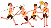 Athletics Young Man Player Vector. Man. Sportsman Win Concept. Various. Race Competition. Hurdle Lon poster