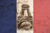 Panorama Eiffel Tower In Paris In The Colors Of The French National Flag. Vintage View. Tour Eiffel  poster