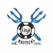 Nautical Logo Est 1976, Retro Emblem With Marine Elements For Nautical School, Club, Business Identi poster