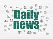 News Concept: Painted Green Text Daily News On White Brick Wall Background With  Hand Drawn News Ico poster