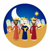 stock photo of melchior  - three magi cartoon with circle tag isolated over white background - JPG