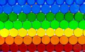 Colorful Plastic Bottle Cap Arrange With Beautiful Tone And Pattern. Blue, Green, Yellow, Orange, An poster