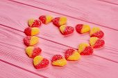Valentines Holiday Wooden Background. Heart From Sweets. Romantic Design From Sweets. Valentines Hol poster