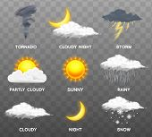Modern Realistic Weather Icons Set. Meteorology Symbols On Transparent Background. Color Vector Illu poster