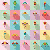 Kite Flying Festival Surf Icons Set. Flat Illustration Of 25 Kite Flying Festival Surf Vector Icons  poster