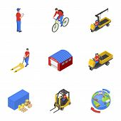 Loading Mail Icons Set. Isometric Set Of 9 Loading Mail Vector Icons For Web Isolated On White Backg poster