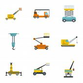 Construction Machinery Icons Set. Cartoon Set Of 9 Construction Machinery Vector Icons For Web Isola poster