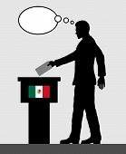Mexican Voter Male Voting For Election In Mexico With Thought Bubble. All The Silhouette Objects And poster