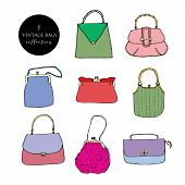 Elegant And Trendy Vintage Bags, Clutches And Purses Ink Set. Bright Hand Drawn Vector Illustration. poster