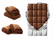 Vector 3d Realistic Chocolate Pieces. Brown Delicious Bar In Torn Foil Packaging And Chocolate Slice poster