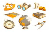 Vector Monochrome Symbols Of Exploration And Geography. Equipment Geography, Sextant And Compass, Te poster