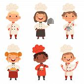 Kids Characters Prepare Food. Character Child Chef Profession, Waiter And Baker, Confectioner Illust poster