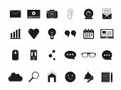 Blogging Symbols. Web Icon In Black Style. Vector Monochrome Pictures. Vlog Media, Blog Communicatio poster