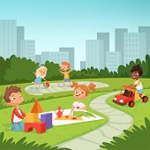 Childrens Playing In Educational Games Outdoor . Various Equipment For Kids. Vector Childhood Summer poster