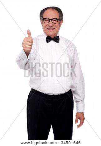 Matured Man Showing Thumbs Up