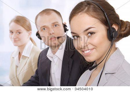 Closeup of a female customer service representative smiling