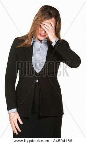 Woman Covers Face
