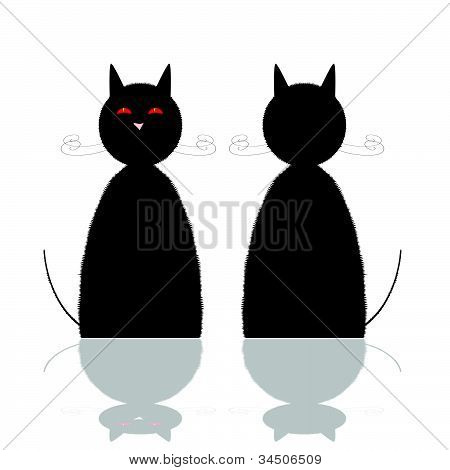 Cat Front And Back Position Vector Illustration