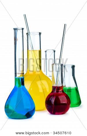 Five Flasks With Different Chemical Agents