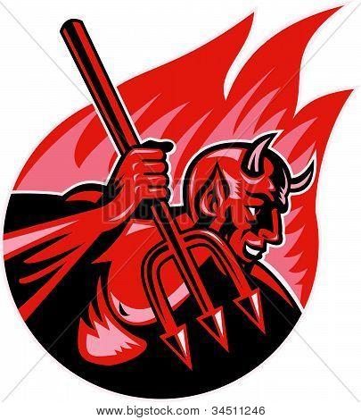 Devil Demon With Trident Pitchfork