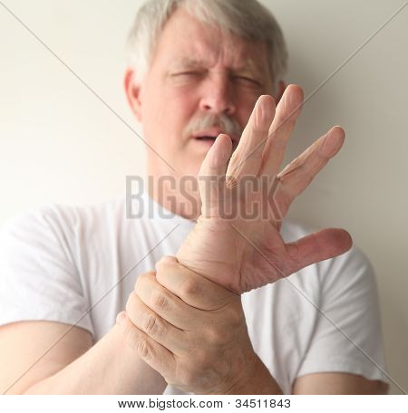 man with a sore hand