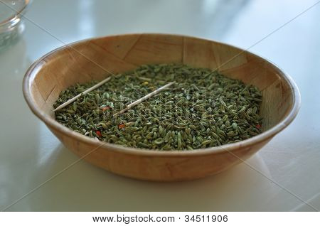 Bowl Of Anise Seeds On The Table