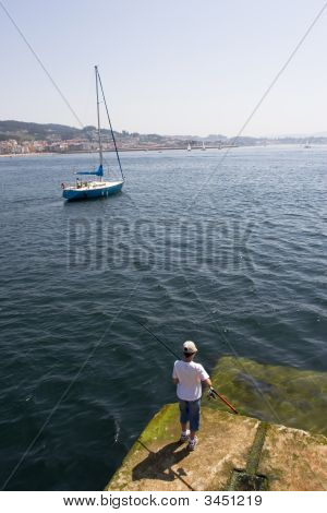 Fisher Boy And Sailboat