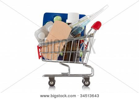 Shopping Cart With  Medical Supplies