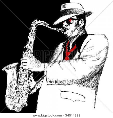 Vector illustration of a saxophonist on a black and white background