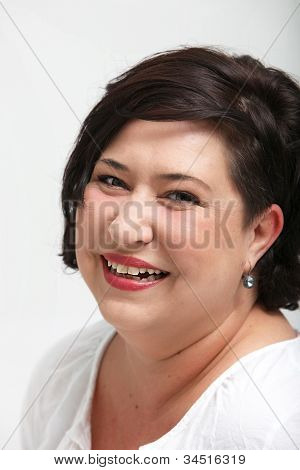 Vivacious Laughing Overweight Woman
