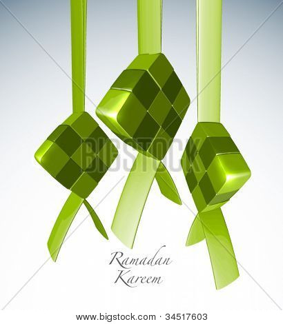 Vector 3D Muslim Ketupat Translation: Ramadan Kareen - May Generosity Bless You During The Holy Month