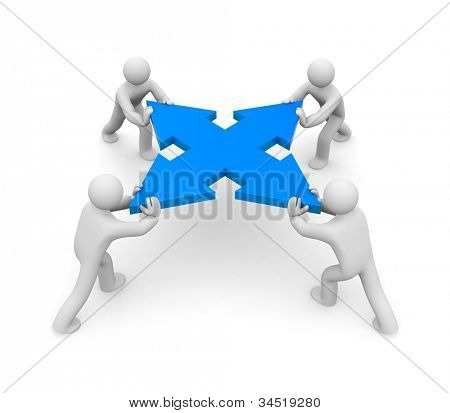 Teamwork or competition. Image contain clipping path