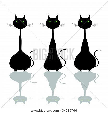 Cat With Green Eye Illustration
