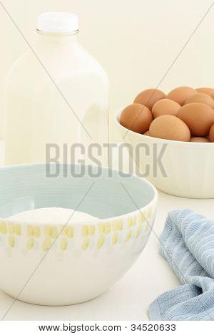 fresh eggs, milk and flour