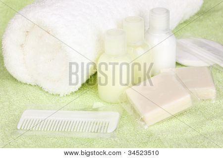 Hotel amenities kit on towel