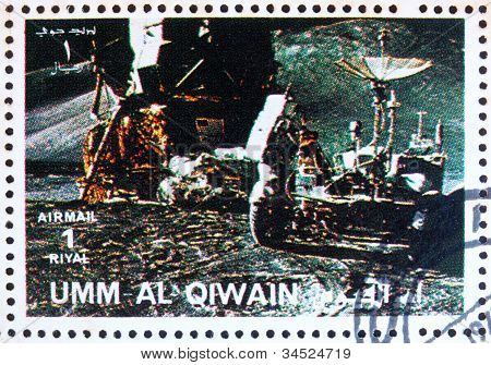 Postage stamp Umm al-Quwain 1972 Astronaut on the Moon