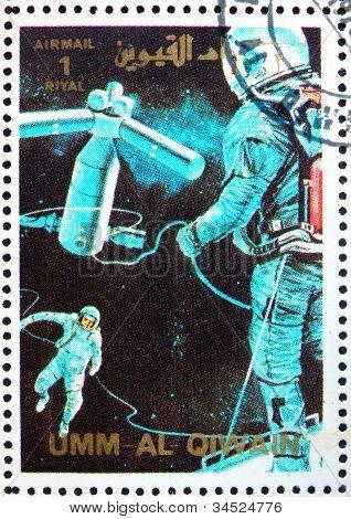 Postage stamp Umm al-Quwain 1972 Space Station, Artist