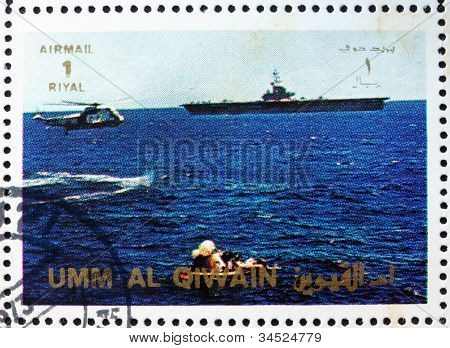 Postage stamp Umm al-Quwain 1972 Space Capsule Recovery, Apollo