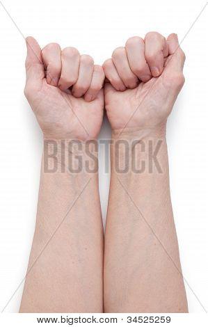 Hands Of An Elderly Man, Short Of A Fist