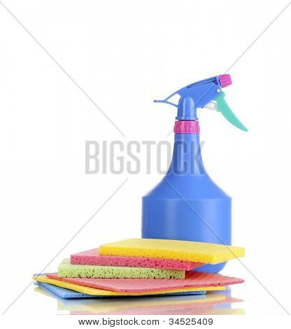 Cellulose sponges and spray isolated on white