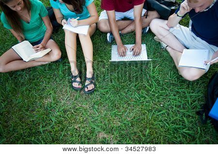 Teenagers studying outside