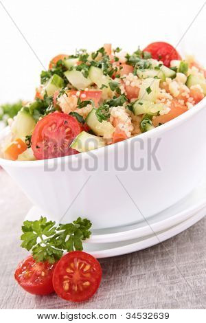 fresh couscous salad with vegetables
