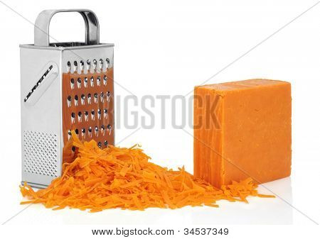 Grated red leicester cheddar cheese with stainless steel grater over white background.
