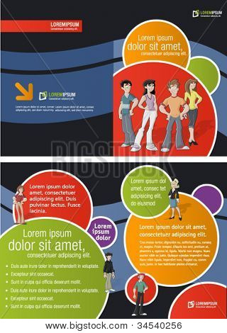 Colorful template for advertising brochure with teenager students