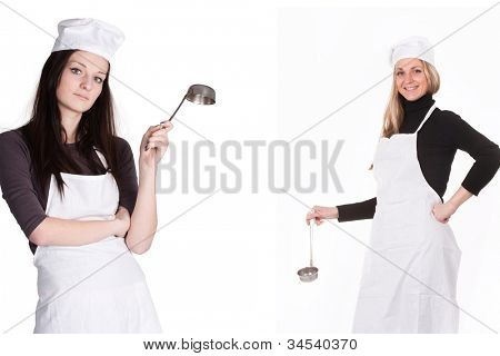 The image of cooks under the white background