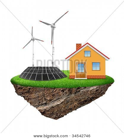 The house with wind turbine and solar panel isolated on white background