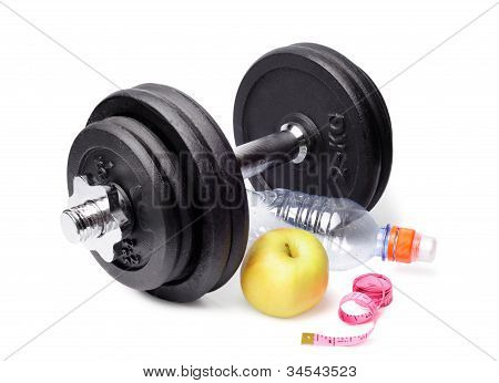Dumbbells, Apples, A Bottle And Centimeter On White Bac