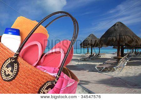Beach bag on a tropical beach.
