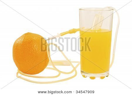 Syringe Sucking The Juice From The Orange